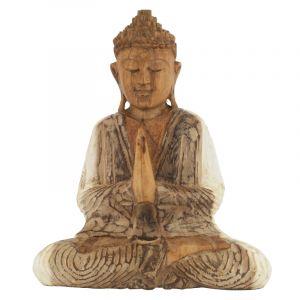 Soška Buddha dřevo 20 cm bar Namaskara