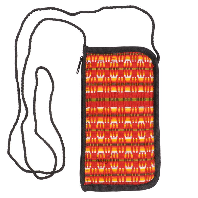 Bavlněná kapsa na krk tkaná, pouzdro na mobil 18 x 10 cm N