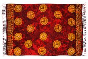 Sarong batikovaný, pareo BOB Batik, Mandala červeno-žlutý | SoNo spol. s r.o.