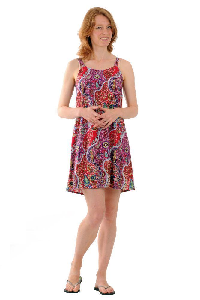 Šaty BOB Dona mini na ramínka Paisley fialové | SoNo spol. s r.o.