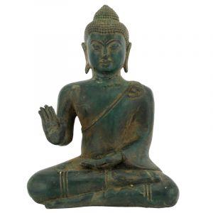 Soška Buddha kov 18 cm patina