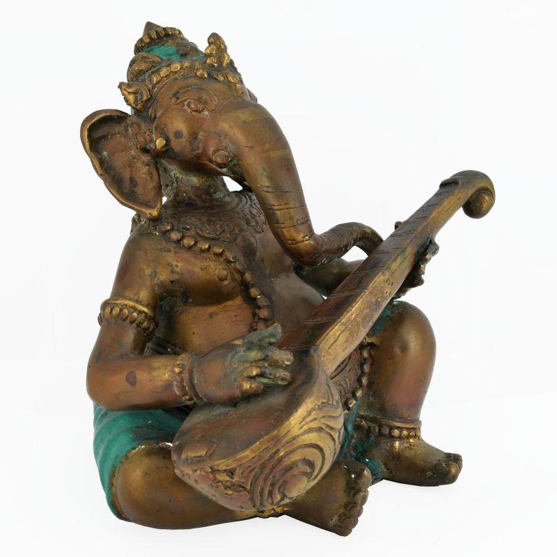 Soška Ganesh kov 19 cm sitar | SoNo spol. s r.o.
