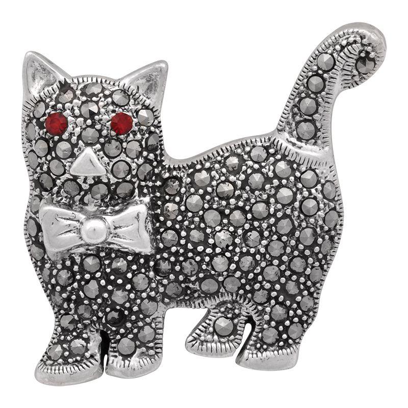 Stříbrná brož Kočka Ag 11,7 g markazit