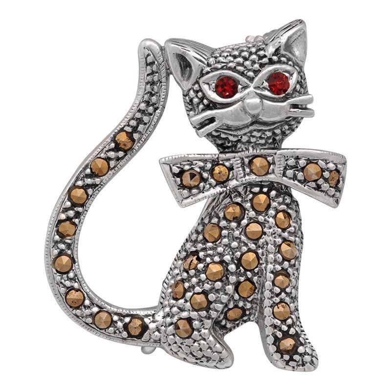 Stříbrná brož Kočka Ag 8,0 g markazit