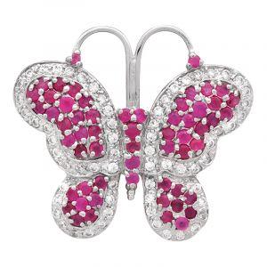 Stříbrná brož Motýl Ag 13,6 g s rubíny