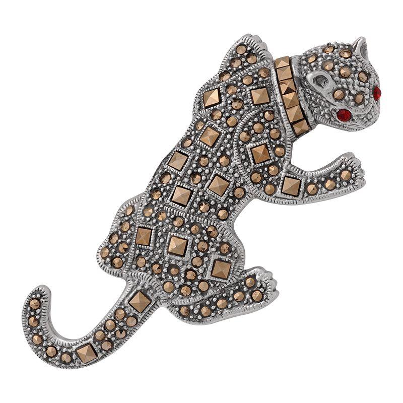 Stříbrná brož Tygr Ag 16,1 g markazit