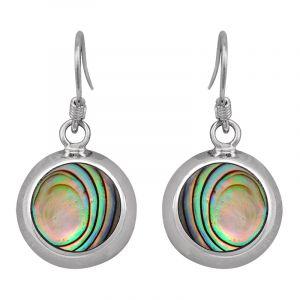 Stříbrné náušnice paua perleť Ag 4,3 g kruh