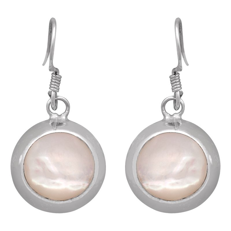 Stříbrné náušnice s perletí Ag 4,3 g kruh | SoNo spol. s r.o.