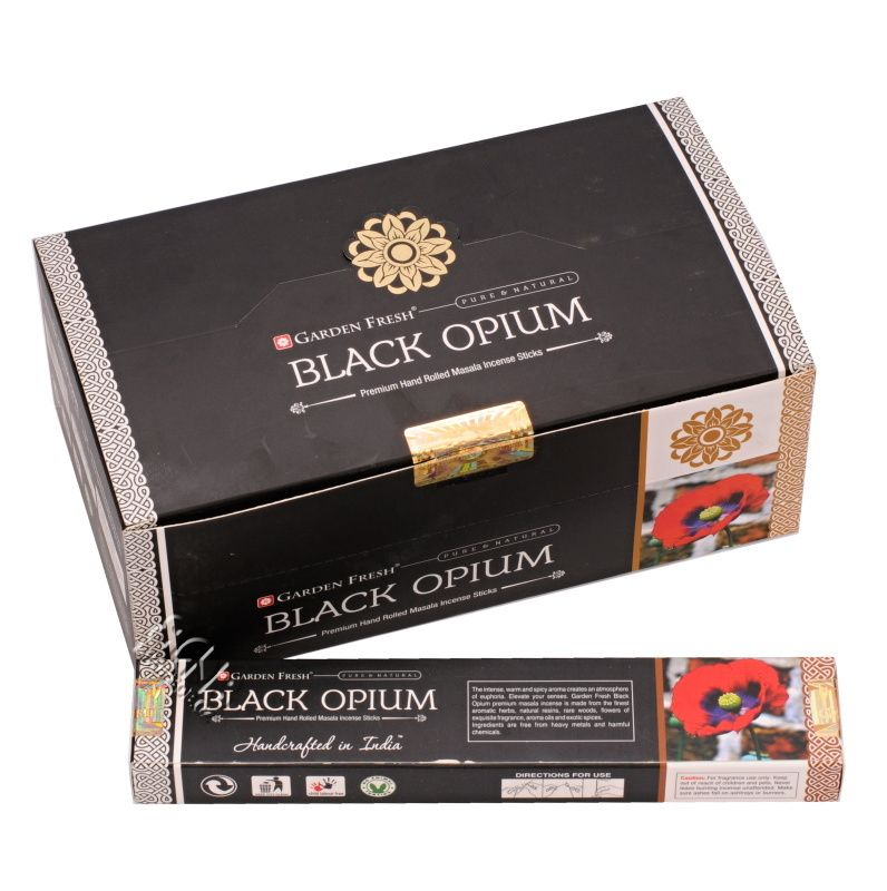 Karton Garden Fresh Black Opium indické vonné tyčinky 12 krabiček.