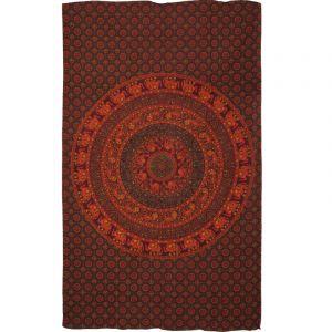 Přehoz Mandala Karavana oranžovo vínový 210 x 130 cm