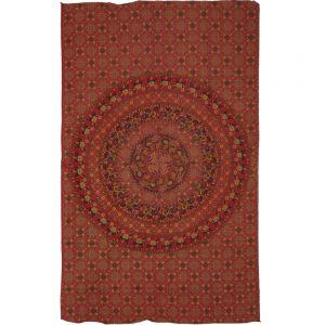 Přehoz Mandala Rajasthan oranžově červený 210 x 130 cm