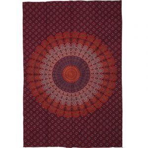 Přehoz Peacock Mandala oranžovo vínový 200 x 135 cm