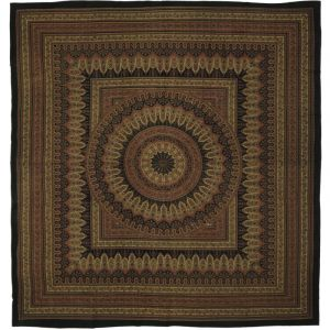 BOB Batik indický přehoz na postel Moghul India žluto hnědý 215 x 205 cm bavlna. King size. Dvoulůžko. | SoNo spol. s r.o.
