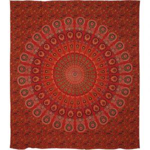 Přehoz Peacock Mandala červený 225 x 195 cm