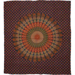 Přehoz Peacock Mandala oranžovo modrý 220 x 200 cm
