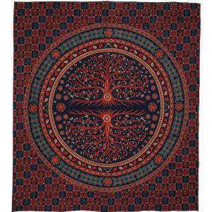 Přehoz Strom červeno modrý 230 x 200 cm