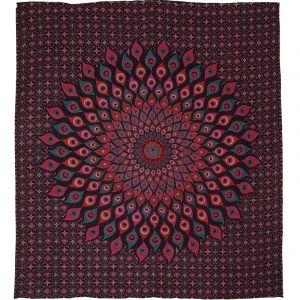 Přehoz Paví oko růžovo fialový 230 x 205 cm