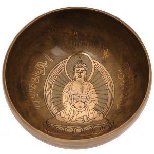 Tibetská mísa 19,5 cm - 1071 g zdobená Buddha s paličkou