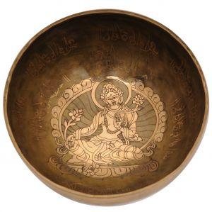 Tibetská mísa 21 cm - 1210 g zdobená Tara s paličkou