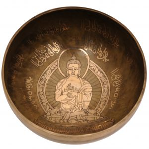 Tibetská mísa 24,5 cm - 1740 g zdobená Buddha s paličkou