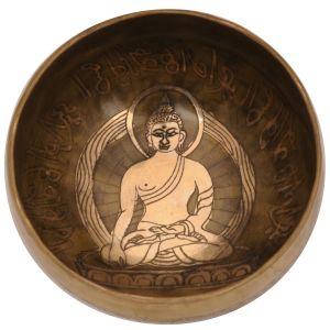 Tibetská mísa 12,5 cm - 455 g zdobená Buddha s paličkou