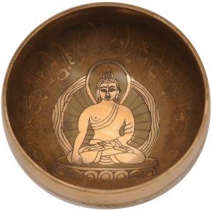 Tibetská mísa 12,5 cm - 498 g zdobená Buddha s paličkou