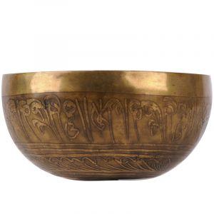 Tibetská mísa zdobená 596 g - průměr 14 cm Buddha ručně tepaná s paličkou | SoNo spol. s r.o.