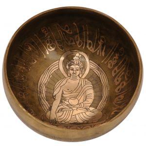 Tibetská mísa 14 cm - 596 g zdobená Buddha s paličkou