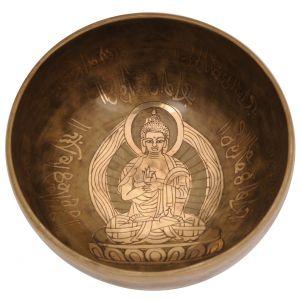 Tibetská mísa 15,5 cm - 687 g zdobená Buddha s paličkou