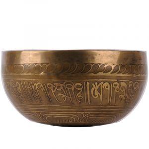 Tibetská mísa zdobená 830 g - průměr 17 cm Buddha ručně tepaná s paličkou   SoNo spol. s r.o.