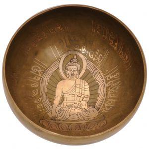 Tibetská mísa 19,5 cm - 944 g zdobená Buddha s paličkou