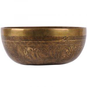 Tibetská mísa zdobená 978 g - průměr 17,5 cm Buddha ručně tepaná s paličkou   SoNo spol. s r.o.