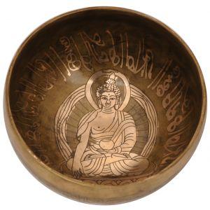 Tibetská mísa 18,5 cm - 987 g zdobená Buddha s paličkou