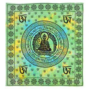 Přehoz Multicolor Buddha zelený 220 x 200 cm