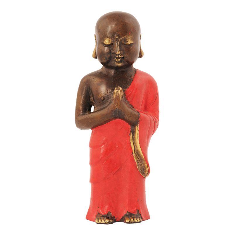 Soška Buddhistický mnich kov 19 cm červená