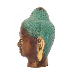 Soška Buddhova hlava kov 07 cm zelená