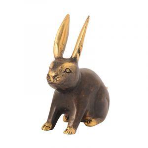 Soška Králík kov 11 cm sedící