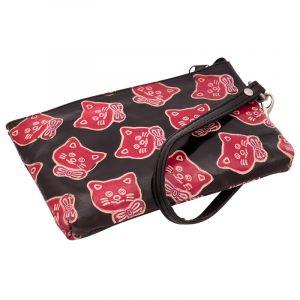 Dámská kožená kabelka s poutkem na zápěstí L Kočičky černá