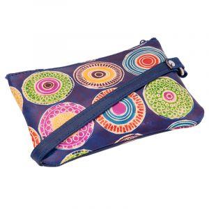Dámská kožená peněženka s poutkem Květy modrá