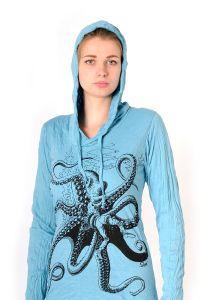 Dámská mikina Sure s kapucí Chobotnice tyrkysová