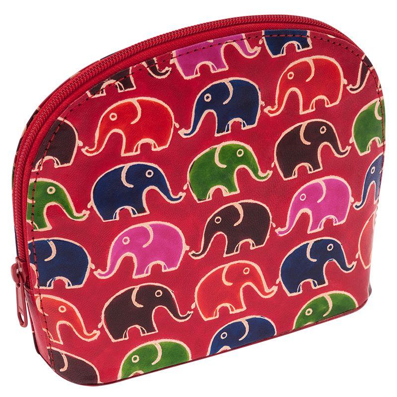 Kožená toaletní kabelka Sloni červená