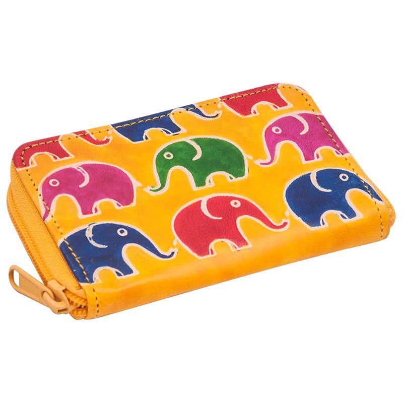 Kožené pouzdro Cute Sloni žluté