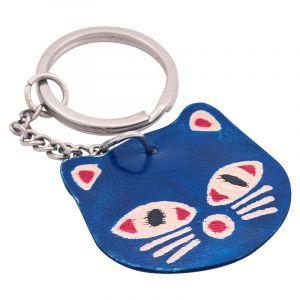 Kožený přívěsek na klíče Kočka modrá