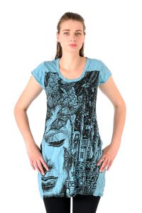 Šaty Sure krátký rukáv Buddha tyrkysové