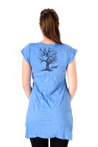 Šaty Sure mini krátký rukáv Strom života modré