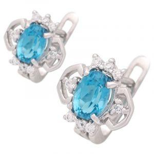 Stříbrné náušnice s Swiss Blue topazem a zirkony Ag 3,6 g crown