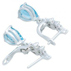 Stříbrné náušnice s Swiss Blue topazy a zirkony Ag 3,8 g