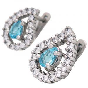 Stříbrné náušnice s Swiss Blue topazem a zirkony Ag 4,6 g | SoNo spol. s r.o.
