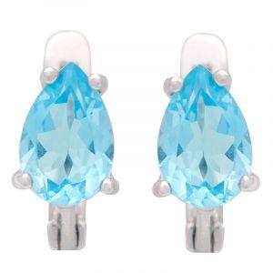 Stříbrné náušnice s Swiss Blue topazem Ag 2,9 g