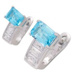 Stříbrné náušnice s Swiss Blue topazem a zirkony Ag 3,6 g